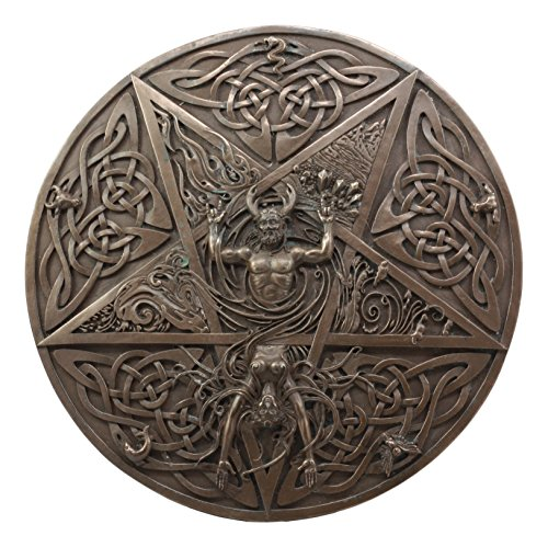 Ebros Maxine Miller The Horned God and Moon Goddess Wiccan Wall Decor Elemental Celtic Knotwork Pentacle Wall Plaque Protection For The Home