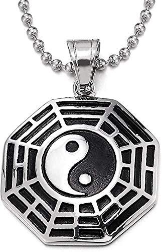 huangxuanchen co.,ltd Hombres Mujeres Acero Plata Negro Tai Chi Yin Yang Bagua Ocho Diagramas Colgante Collar 30 Cadena de Bolas