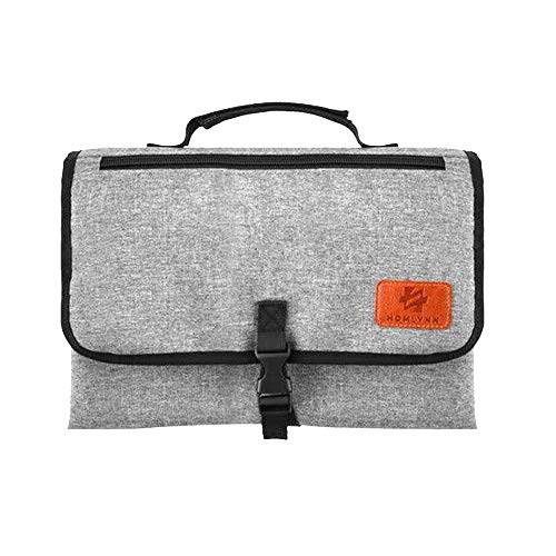 Portable Baby Changing Pad, Diaper Bag Changing Pad Station with Head Cushion, Wipes Pockets Diaper Clutch-Waterproof & Fold-able for Everywhere Use(Grey)