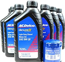 AC Delco DexosD 0w-20 Light Duty Diesel Engine Oil 19370138, 10-9277 and AC Delco PF66, 55495105, 19391402 Oil Filter Oil Change Kit For 3.0l Duramax Diesel LM2