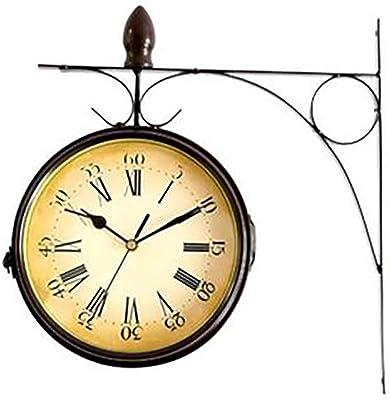 YWYU Creativo Reloj de Pared de Doble Cara, Hierro Forjado, Reloj de inspiración Vintage con Pared rodante Lateral montado en 360 Grados, Reloj de Pared Decorativo para el hogar: Amazon.es: Hogar
