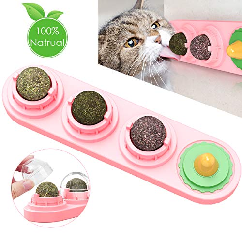 Catnip Toy for Cats, Natural Catnip Edible Balls, Rotatable Cats Lick Toy, Cat Dental Treats Care Teeth Cleaning, Best Cat Gift (Color: Pink)
