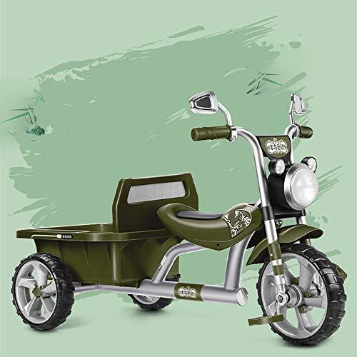 Triciclo para Niños con Cubo Trasero, Bicicleta De Doble Equilibrio, Bicicleta De Juguete para Bebés, Carga De Producto De 90 Kg, Tres Colores Opcionales, con Luces Y Música