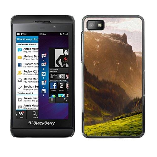 // PHONE CASE GIFT // Duro Estuche protector PC Cáscara Plástico Carcasa Funda Hard Protective Case for Blackberry Z10 / Ilustración de la montaña /