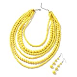 Yellow Howlite Beads Silvertone Dangle Drop Earrings Drape Necklace Fashion Black Oxidized Jewelry Set for Women Graduation Gifts for Her Size 18'