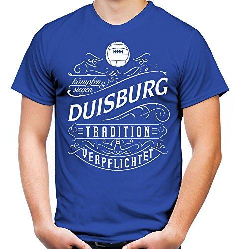 Mein Leben Duisburg Männer und Herren T-Shirt | Fussball Ultras Geschenk | M1 Front (XL, Blau)