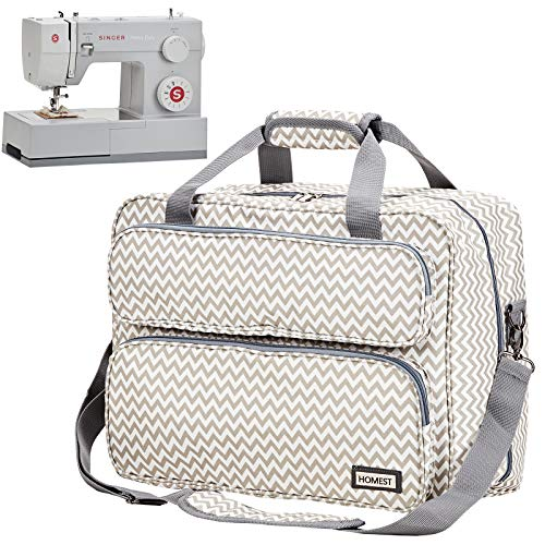 HOMEST Sewing Machine Carrying Case, Universal Tote Bag with Shoulder Strap Compatible with Most Standard Singer, Brother, Janome, Ripple (Patent Design)