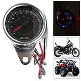 CONRAL Motorrad Edelstahlgehäuse Tachometer Kilometerzähler Geschwindigkeitsmesser Drehzahlmesser LED Hintergrundbeleuchtung