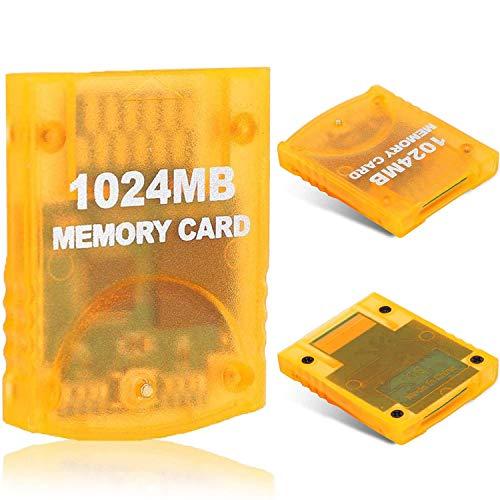 1024MB(16344 Blocks) Gamecube Memory Card for Nintendo Wii Game Cube NGC GC (Orange)
