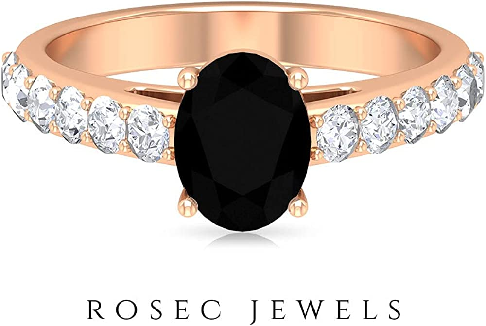 8X6 MM Oval Shaped Lab Created Black Diamond Engagement Ring, Moissanite Accent Ring (AAAA Quality), 14K Rose Gold, Size:US 4.5