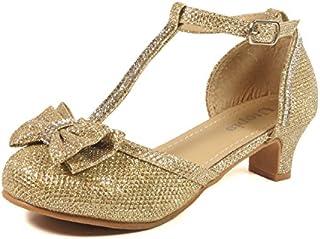 Nova Utopia Toddler Little Girls Low Medium Heel Dress Sandal Flower Girl Shoes (Size 9-4)