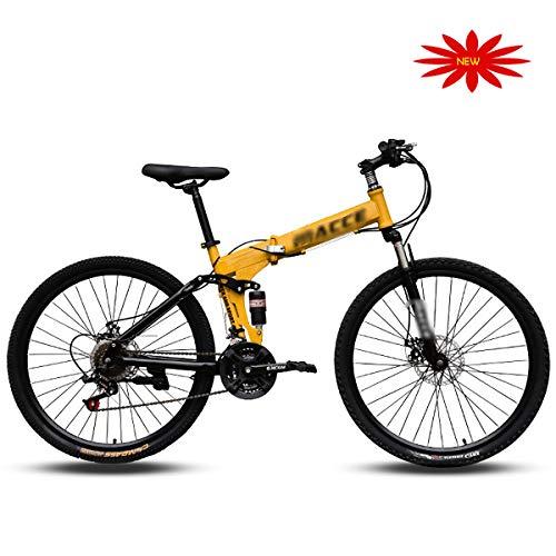 JJYP Bicicleta montaña Adultos, Ruedas 24/26 Pulgadas Bicicleta 21 velocidades Suspensión Completa MTB Gears Frenos Disco montaña Hombres y Mujeres Adultos Velocidad Variable Bicicletas Outroad-03