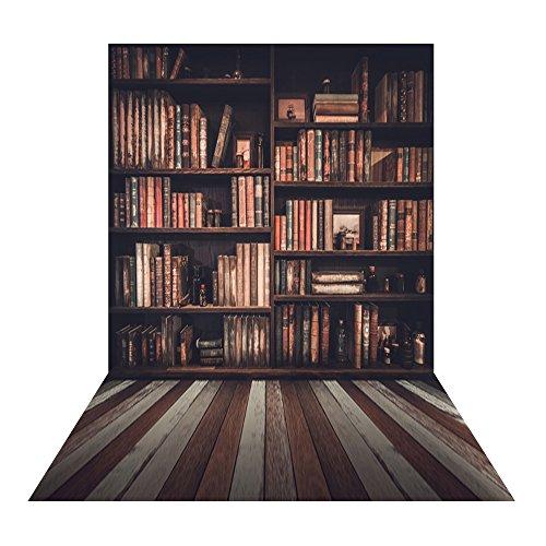 Muzi 150x250cm retro boekenplank fotografie achtergrond bruin en grijs hout vloer achtergrond afstuderen fotografie achtergrond houten vloer druppel XT-5465