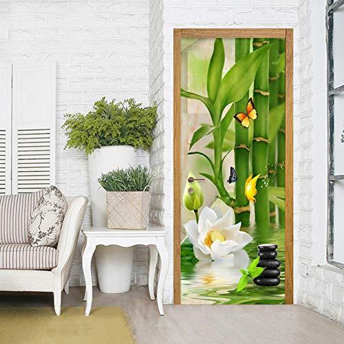 Deursticker groen bamboe patroon behang deurbehang zelfklevend deurposter closeup in het formaat deurfolie plakfolie van trendmuren 77 cm x 200 cm