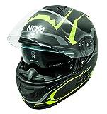 NOS Helmets NS070XLDY Casco da moto integrale in fibra MFC. Omologato ECE22-05, Douglas Fluor Yellow, XL