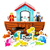 Noah's Ark Shape Sorter Playset | Biblical Education Toy For Kids | Includes 7 Animal Pairs: Hippos, Lions, Giraffes, Zebras, Elephants, and More | Improves Problem Solving and Fine Motor Skills