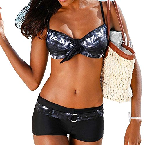 hibote Damen Bademode Bikini-Sets Push-up Gepolstert Drucken Mit Shorts Pants