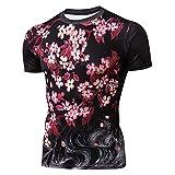 Pizoff(ピゾフ) メンズ 半袖 Tシャツ 桜柄 鯉柄 和風 個性 おしゃれ カットソー 細身 夏AG003-62-S-JP