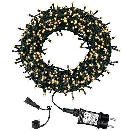 Lichterkette Außen Strom, Led Weihnachtsbeleuchtung Innen, 300 LED 30m mit 8 Leuchtmodi Wetterfest Deko Fairy Lights Lampions für Balkon, Terrassen, Zimmer, Garten, Weihnachtsbaum, Party, Warmweiß