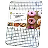 Oven-Safe, Dishwasher-Safe 100% Stainless Steel Cooling and Baking Rack - Quarter Sheet Pan Tight-Wire Cooling Rack For Baking - Food-Safe, Heavy Duty, Small Cooling Rack for Baking - 8.5 x 12-inch