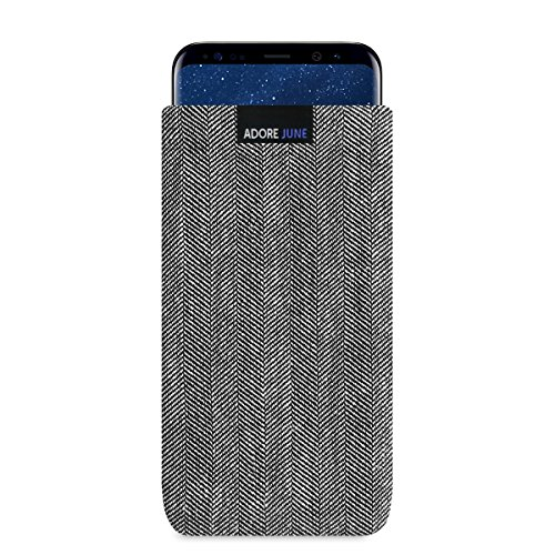 Adore June Business Tasche für Samsung Galaxy S8+ Handytasche aus charakteristischem Fischgrat Stoff - Grau/Schwarz | Schutztasche Zubehör mit Bildschirm Reinigungs-Effekt | Made in Europe