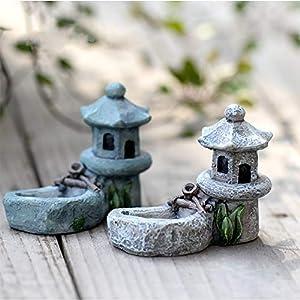 2 pcs mini retro pond tower figurines miniature garden stone tower craft terrarium figurine micro landscape indoors outdoors decorative accessory