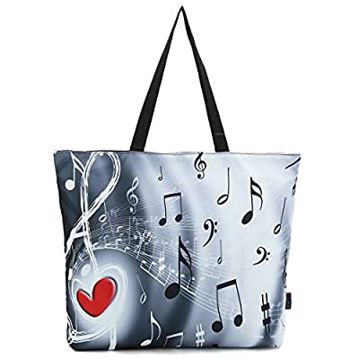 ICOLOR Music Notes Large Eco Reusable Eco-friendly Shopping Bag Handle case Bag School Shopping Large Grocery shoulder bag Reusable Portable Storage HandBags Convenient Shoppers Tote YGWB-36