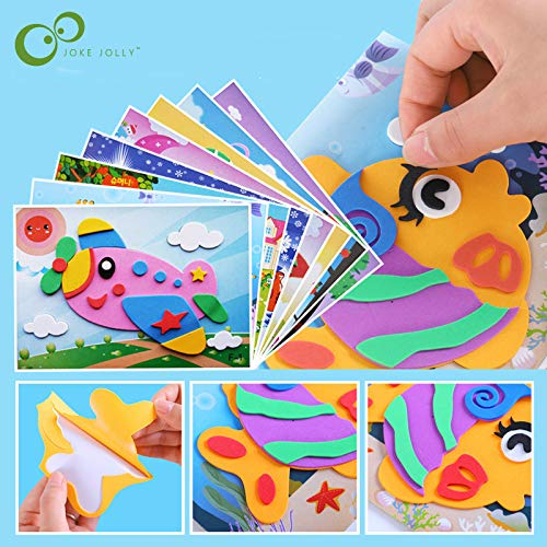 5 designs/lot 3D EVA Foam Sticker DIY Cartoon Animal Puzzle For Children Kids Multi-patterns Styles Toys for Children Gift LYQ