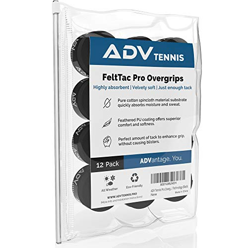 ADV Tennis Dry Overgrip - Remarkably Absorbent - Must Feel Velvety Comfort - Exclusive FeltTac Material (12 Pack, Black)