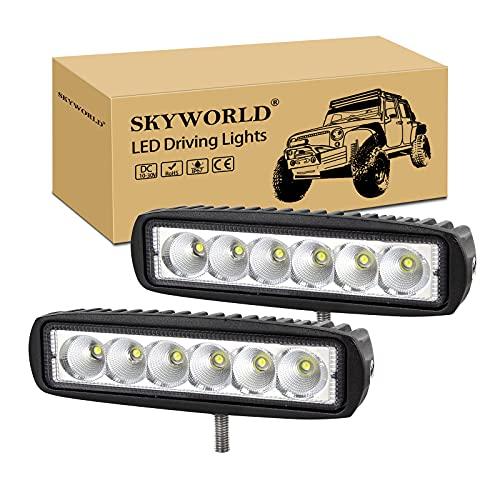 SKYWORLD Barra de luz de trabajo LED de inundación de 6 pulgadas 15.2 cm 18W que conduce luces de niebla para un vehículo todoterreno 4WD camión tractor tractor remolque 4x4 SUV ATV (paquete d