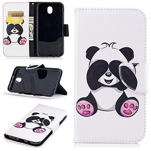 KATUMO Custodia Galaxy J7 2017 Cover, Flip Wallet Case Book Style Internamente Silicone TPU Custodie Case in Pelle Protettiva Flip Cover per Samsung Galaxy J7 (2017) 5.5' -Panda Bianca