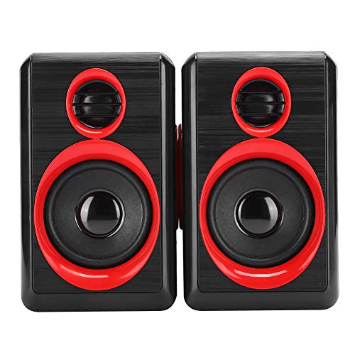 Yctze Mini Speaker Powered Stereo Multimedia box Small Laptop Speaker with Hi-Quality Sound, Loud Volume for PCs, Desktop Computer and Laptops(Black red)