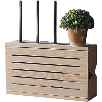 Multimedia Set-Top Box WiFi Caja De Almacenamiento De Pared Zócalo Blindaje Caja Dormitorio Sólido Router De Madera Estante De Almacenamiento De TV Gabinete DV Decoración De La Pared del Estante: Amazon.es: Hogar