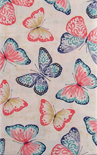 Brilliant Watercolor Butterflies Collage Vinyl Flannel Back Tablecloth (60