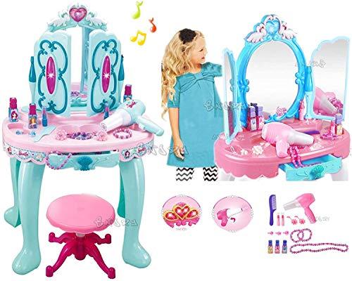 odg glamour Specchiera Giocattolo per Bambine Acconciature con Accessori luci e Suoni Altezza 70 cm. con Sgabello Specchiera del Ghiaccio
