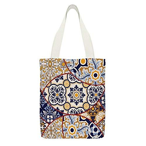 Bolsa de lona Azulejos Mosaicos Abstracto Blanco-Color7 Reutilizables Bolsas de tela de la compra de comestibles Eco Friendly Super Fuerte Bolsa de hombro Regalos