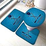 Set di tappetini Set da 3 pezzi Bastoncini per maschera da hockey e disco su una pista di pattinaggio su ghiaccio Morbido con tampone Tappetino da bagno + Tappeto a forma di U + Coperchio WC