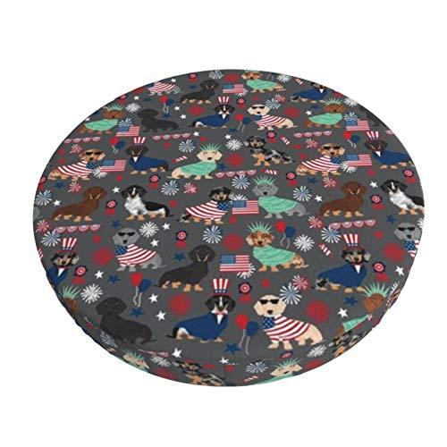 MaJack - Funda para taburete redondo y transpirable, lavable, para el 4 de julio, 4 de julio, color carbón vegetal, asiento de taburete elástico, funda para asiento de taburete de 35 cm