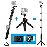 CamKix 3in1 Telescopic Pole 16-47 Inch and Tripod Base Kit compatible with GoPro