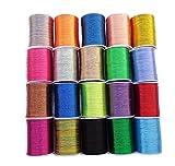 E-isata hilo metálico para bordar, 20 colores surtidos, bobina de hilo de poliéster para bordar, acolchar, ideal para coser a máquina o hacer agujas de mano