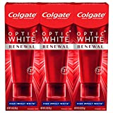Colgate Optic White Renewal Teeth Whitening Toothpaste with Fluoride, 3% Hydrogen Peroxide, High Impact White - 3 Ounce (3 Pack)