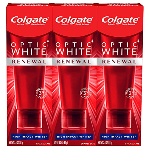 Colgate, Optic Renewal Teeth Whitening Toothpaste with Fluoride Hydrogen Peroxide Pack, White, High Impact White, 9 Ounce