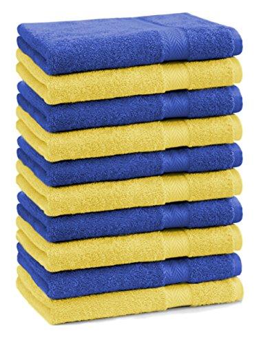 Betz Lot de 10 Serviettes débarbouillettes lavettes Taille 30x30 cm en 100% Coton Premium Couleur Jaune et Bleu Royal