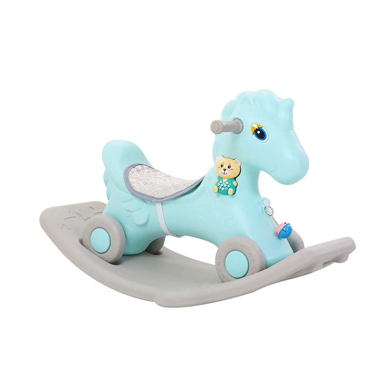 timecrash 可愛い キッズ用 車輪付き 両用 木馬 ロッキングチェア 座れる 乗り物 乗用おもちゃ 誕生日 出産祝い 1~6歳 Horse-blue