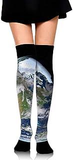 DAWN&ROSE, DAWN & ROSE Earth Planet Space Universe - Calcetines deportivos a la rodilla con estampado casual
