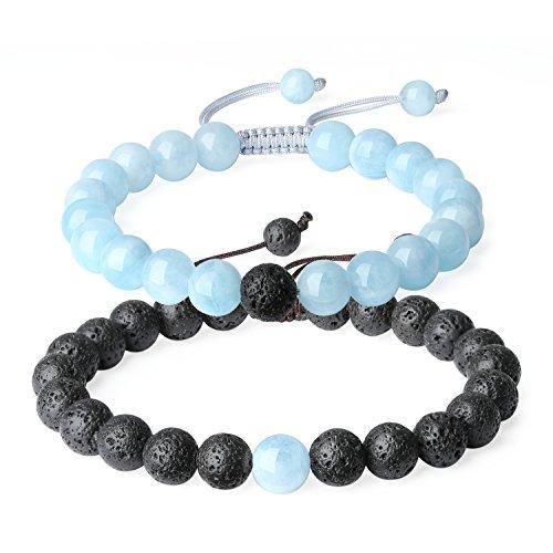 coai® Geschenkidee EIN Paar Partner Armbänder aus Lavaperle und Aquamarin für Damen und Herren