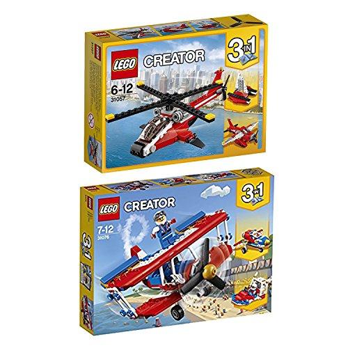 Lego Creator 3-in-1 2er Set 31057 31076 Helikopter + Tollkühner Flieger