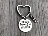 Proud Army Mom Keychain, Custom Military Army Strong Key Ring Gift for Moms