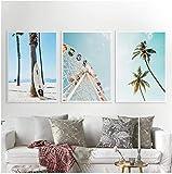 Paredes artísticas Pintura en lienzo Noria Impresión Tropical Palm Poster Color Pastel Decoración nórdica 3 piezas 40x60cm sin marco