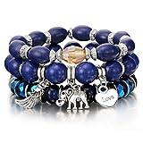 PmseK Armbänder/Bangle Armband, Luxury Natural Stone Beads Bracelets for Women Wing Tassel Charm Bracelets & Bangles Set Boho Vintage Jewelry Pulseras Mujer Moda SL1034